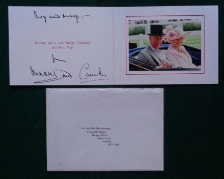Antique Hand Signed Christmas Card Prince Charles & Camilla Duchess Cornwall